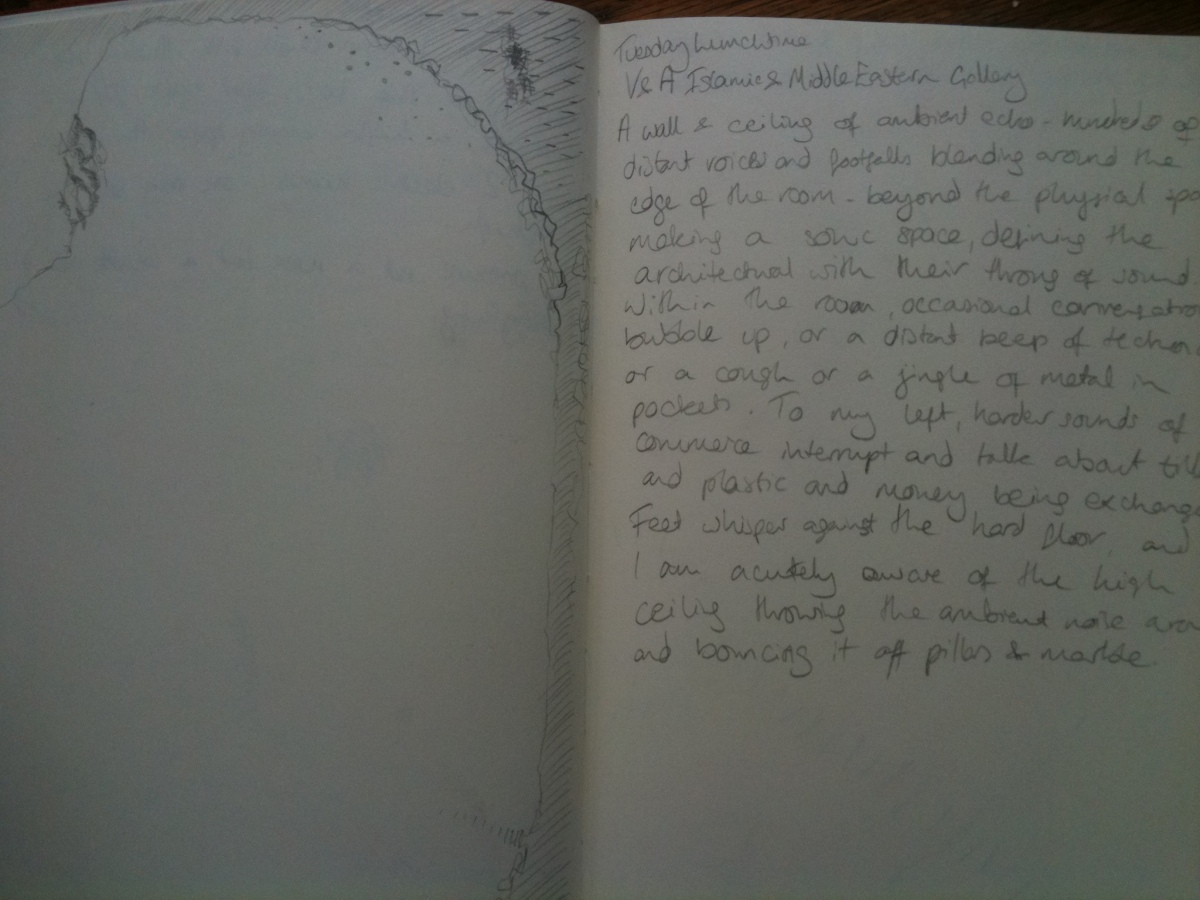 Two pages of a notebook - on one side is a lot of space and some abstract marks. On the right side is a paragraph of handwriting.