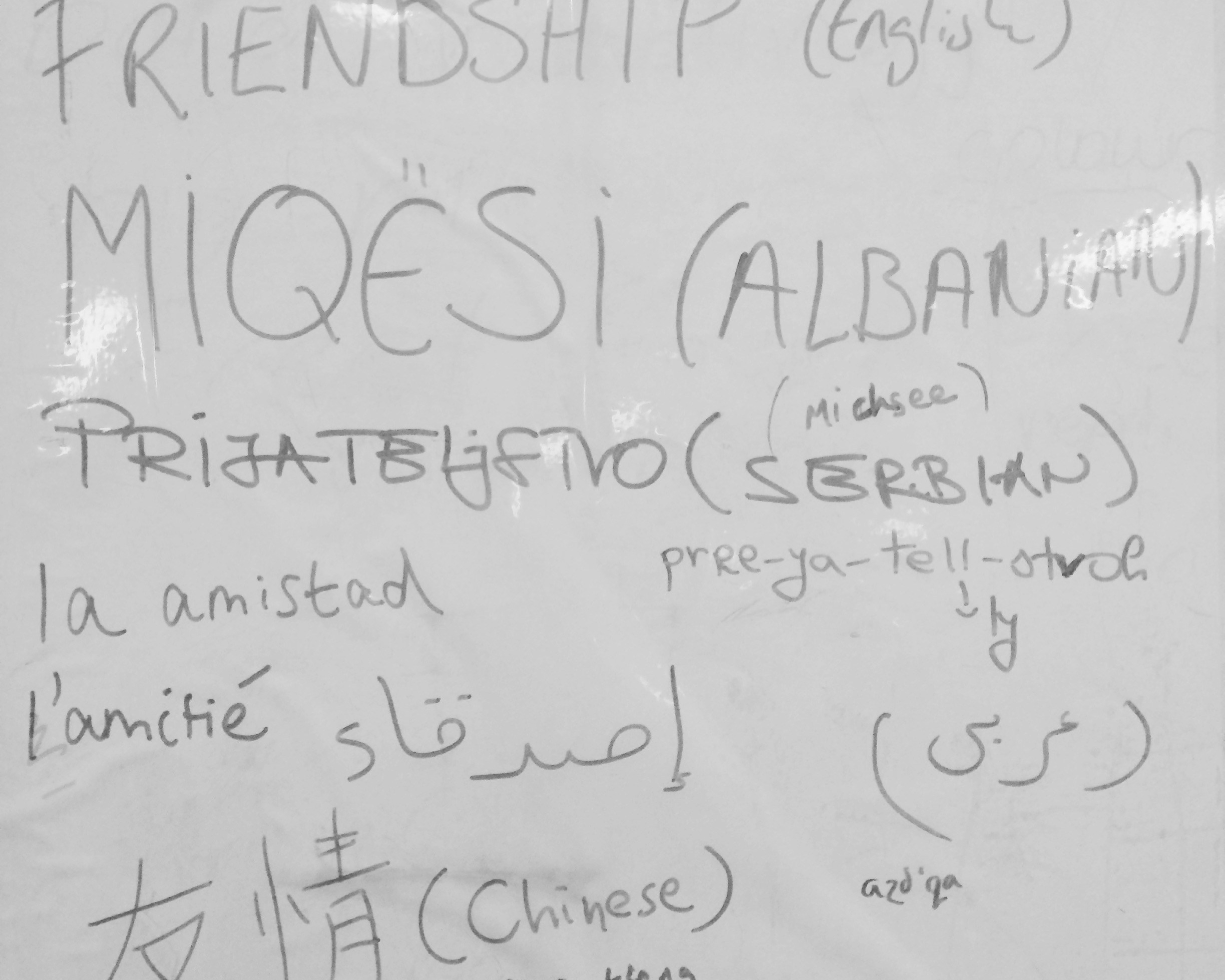 "A white board with lots of different handwriting sharing the word ""friendship"" in many languages and alphabets."