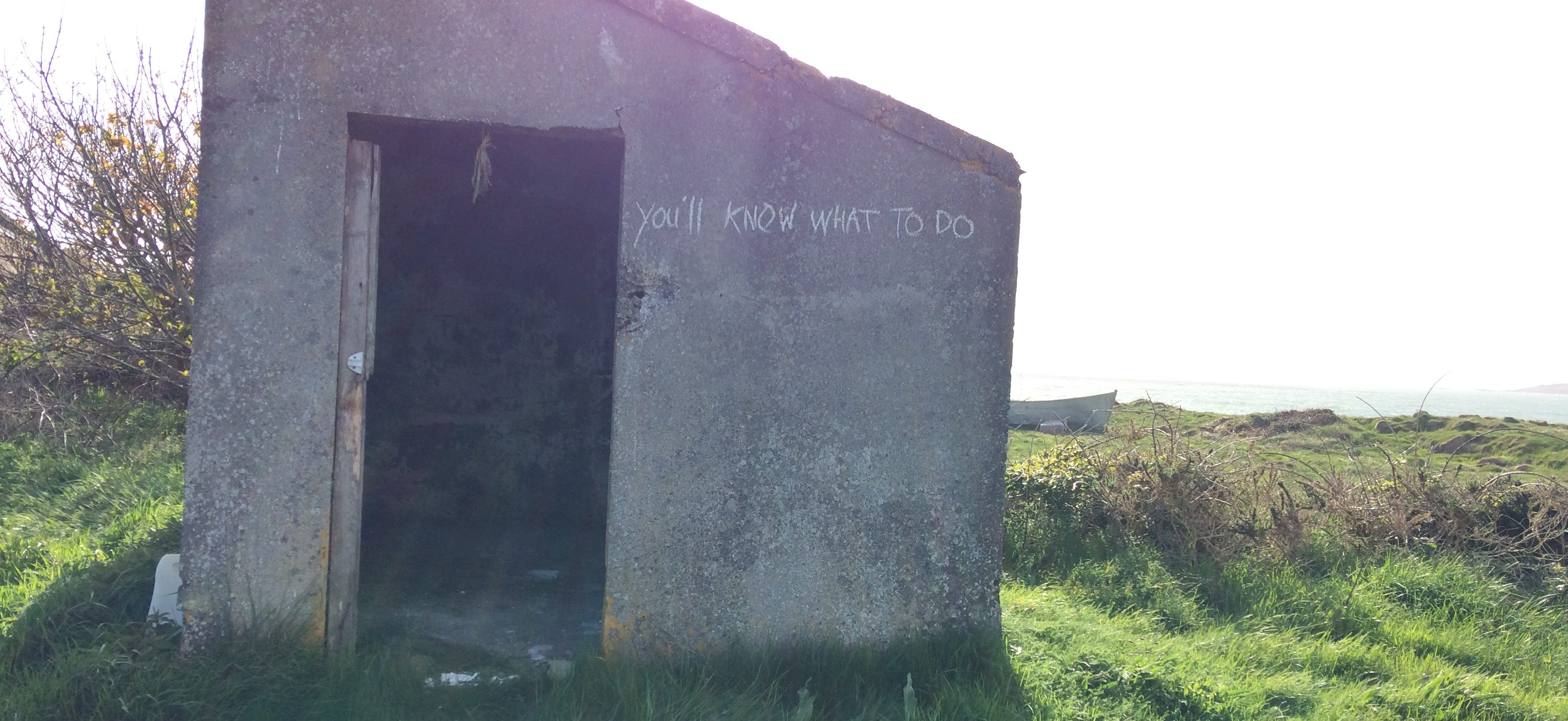 """A concrete hut sits on overgrown grass somewhere wild. The shelter has a steeply sloping roof, slanting down from a sharp apex on the far left. of the image. Bright sunlight coming from directly behind the shelter makes a shadow that reaches towards the front of the picture. To the right of the shelter an uneven edge to the land and the prow of a small boat imply there is ocean beyond. The shelter has a doorway open in the left half of the visible wall. It is dark inside, just about possible to make out rough brickwork, and something like a bunch of drying herbs hanging from the lintel. On the expanse of concrete wall to the right of the doorway, crude chalk writing reads """"you'll know what to do"""""""
