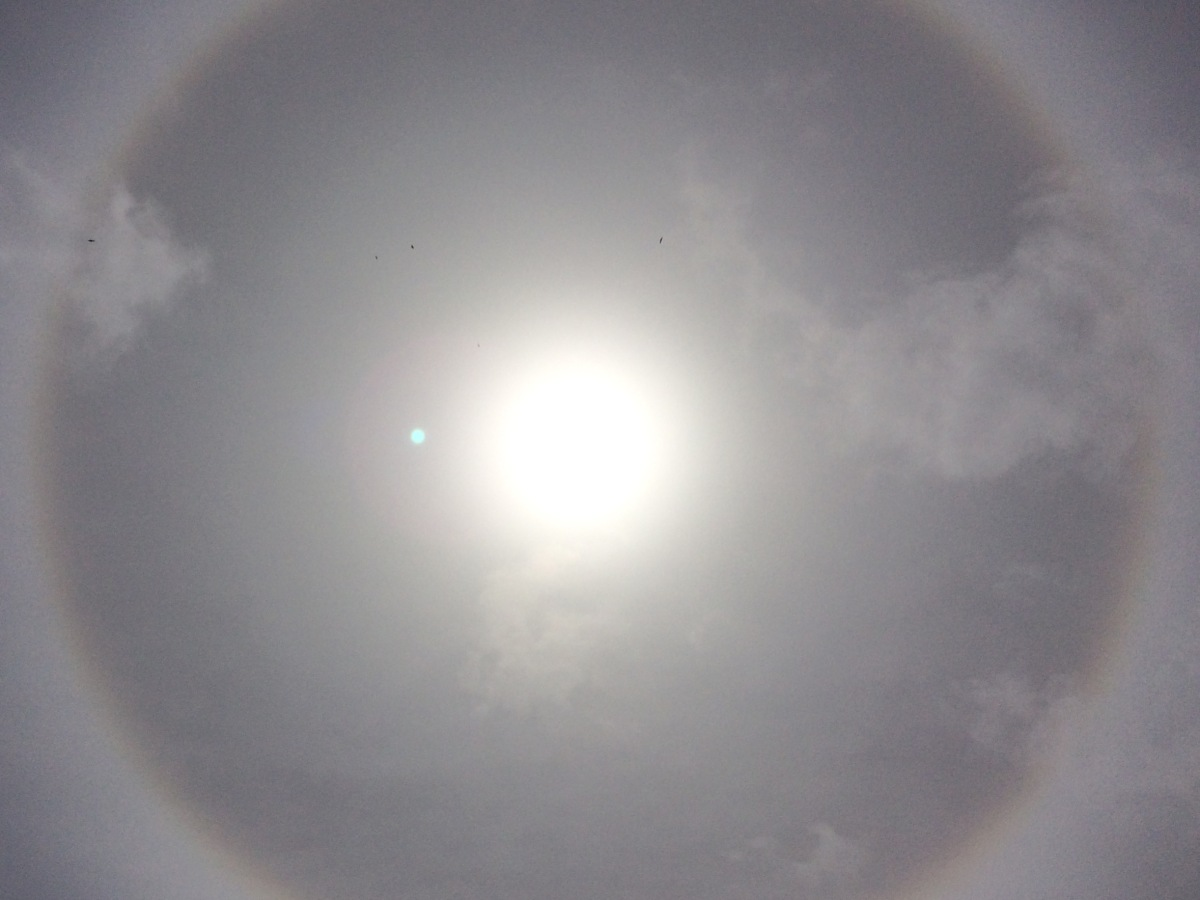 In the centre is the sun, and around it is a big halo of light through hazey sky, a pale rainbow circle.